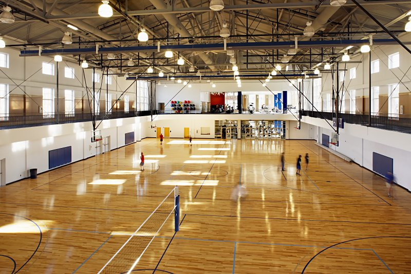 Dahlonega's recreation center inner basketball and volleyball courts