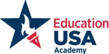 EducationUSA academy logo in blue and red
