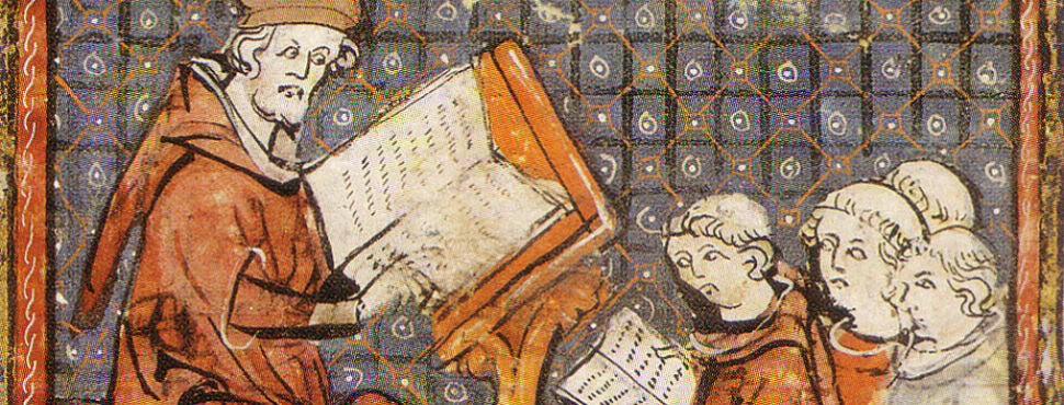 Medieval Education - instructor and students.