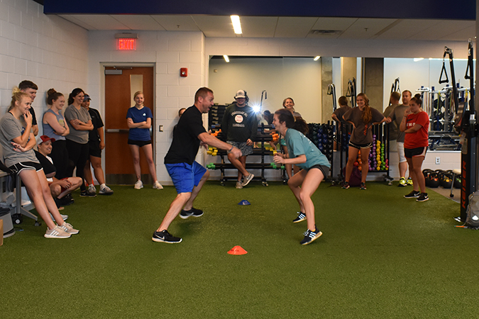 Mr. Blake Podsen teaching Advanced Strength & Conditioning (KINS 4012) in the Strength and Conditioning Lab