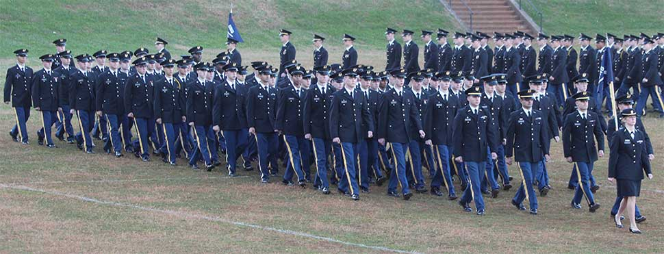 Corps of Cadets in review on the UNG Drill Field