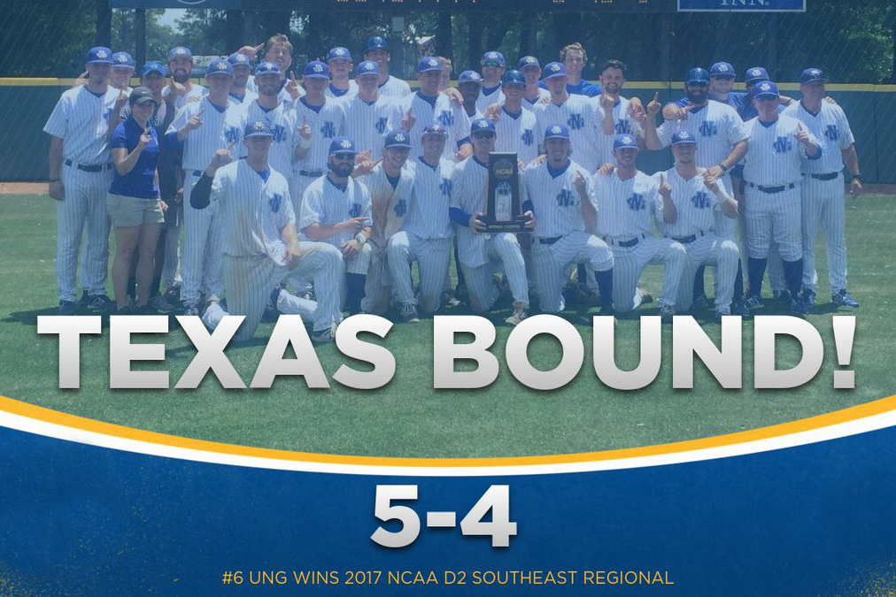 UNG's NCAA Division II baseball team clinched a berth in the national championship tournament by winning the Southeast Regional Championship tournament 5-4 over Catawba College.