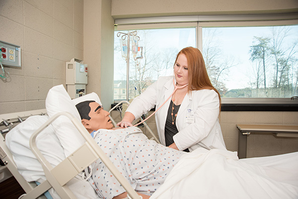 Amberly Hedden practices her assessment skills in the nursing Simulation Lab on UNG's Dahlonega Campus.