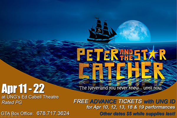 """GTA's production of """"Peter and the Star Catcher"""" is currently over 90 percent sold. Remaining tickets can be purchased online or by phone at 678-717-3624, Monday through Friday, from 10 a.m. to 4 p.m."""