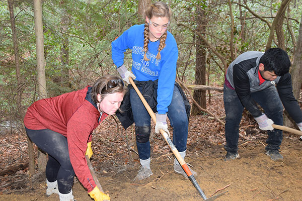 Sarah Fredebeil and Rebekah Bennett use various tools to build a new Chattanooga Connector Trail at Lula Lake Land Trust.