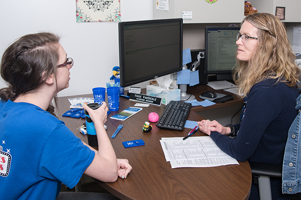 Angela VanSickle, UNG academic advisor is assisting student Caitlin Floyd in the newly designed Academic Advising Center on the Dahlonega Campus.