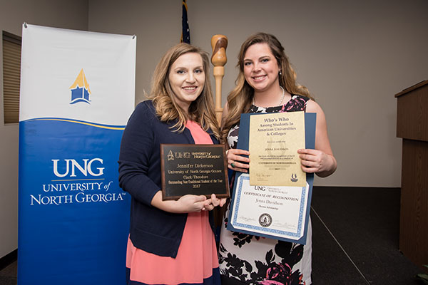 Jennifer Dickerson (left) received the Clark-Theodore Outstanding Nontraditional Student award. Jenna Davidson (right) received the Oconee Scholarship and was named to Who's Who Among Students in American Universities and Colleges.