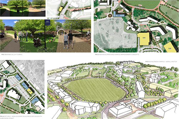 A collection of renderings from the Facilities Master Plan shows concept art for proposed changes across UNG's campuses.
