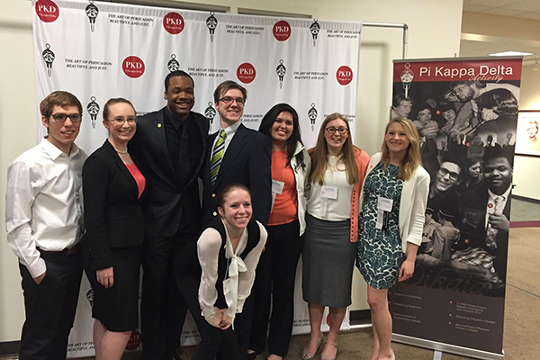 The two national finalist teams from UNG are pictured with finalists from the College of Western Idaho and Linfield College of Oregon at the Pi Kappa Delta National Debate Tournament in Boise, Idaho.