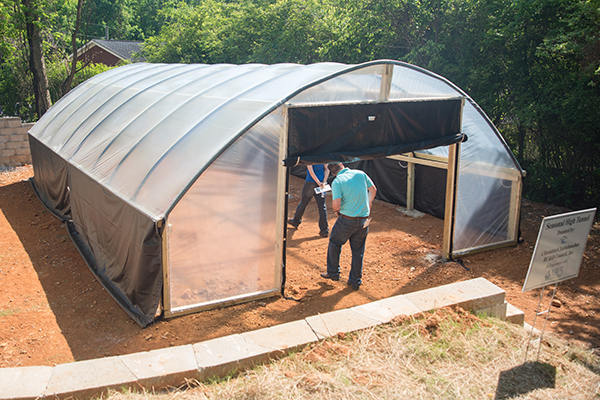 The 20 x 32 foot hoop house installed at UNG is a temporary unheated greenhouse used to cover crops to extend their growing season.