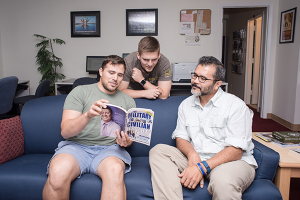 Student veterans talk about the transition from military life to civilian life in UNG's Veterans Resource Center on the Dahlonega Campus.