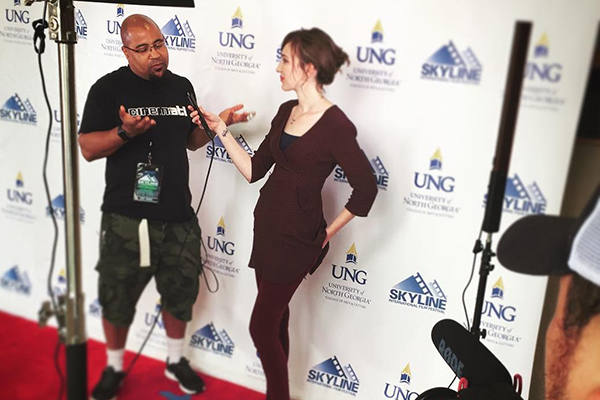 Film and Digital Media students at UNG conducted quick Q&A sessions before the start of film screenings during the second annual Skyline Film Festival at the UNG Gainesville Campus.