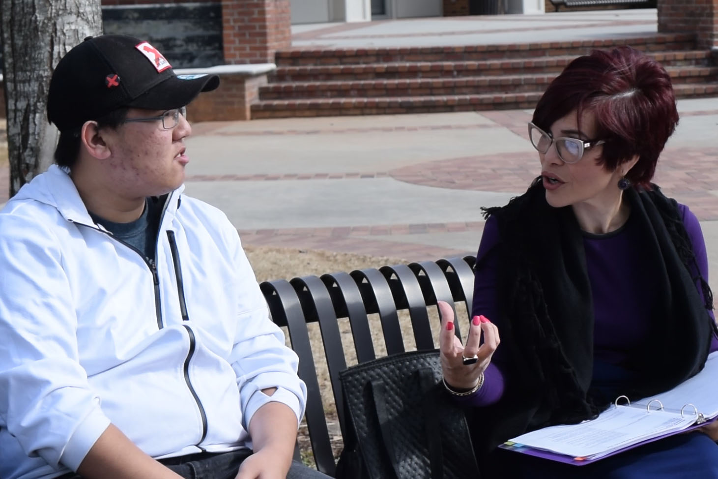 Anmarie Martin, right, talks with a fellow student. Martin returned to school to pursue a bachelor's degree thanks to a UNG scholarship.