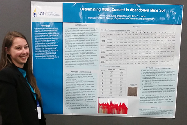 "Chemistry major Corina Lupse presented her research on ""Determining Metal Content in Abandoned Mine Soils"" during the annual American Chemical Society National Meeting."