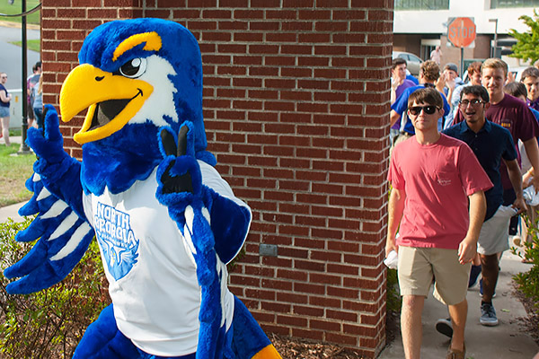 Nigel the Nighthawk leads freshmen through the arch on the Dahlonega Campus during Gather in the Grove.