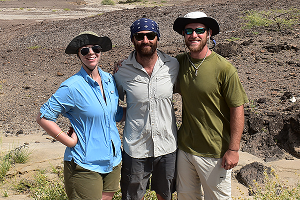 UNG student Kayla Allen, left, UNG professor Dr. David Patterson, and UNG Student Brendon Zeller at the Koobi Fora Field School in Kenya.