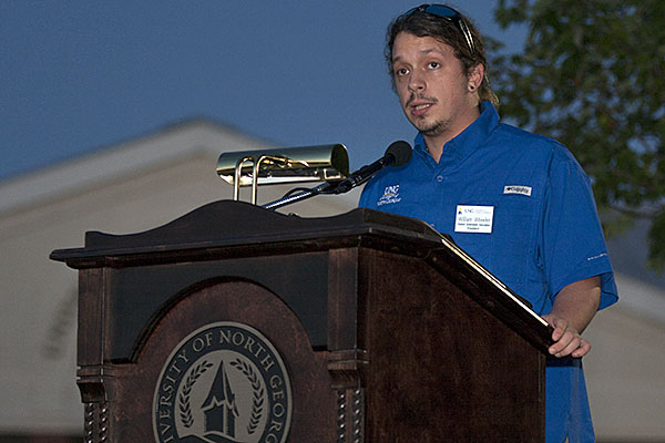 William Wheeler, SGA president on the Oconee Campus, addresses attendees at the fourth annual Oconeefest on Thursday, Oct. 19.