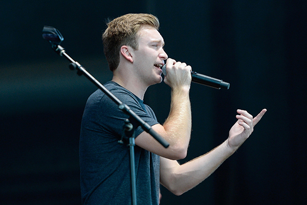 University of North Georgia (UNG) student Kyle Clark, a sophomore business administration major from Jefferson, Georgia, won the 2017 Atlanta division of NASH Next Contest. His prize was singing at the Verizon Wireless Amphitheatre ahead of country musician Darius Rucker. (Photo courtesy of Cumulus Media Inc.)