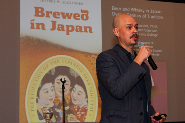 "Guest lecturer Dr. Jeffery Alexander traced the history of Japanese beer and whisky consumption in his presentation ""Brewed in Japan"" on Nov. 10 at Market Place in Dahlonega."
