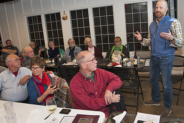 Brannon Boegner, manager of Wolf Mountain Vineyards in Dahlonega, talks about the science of winemaking to the monthly gathering of the Dahlonega Science Club.