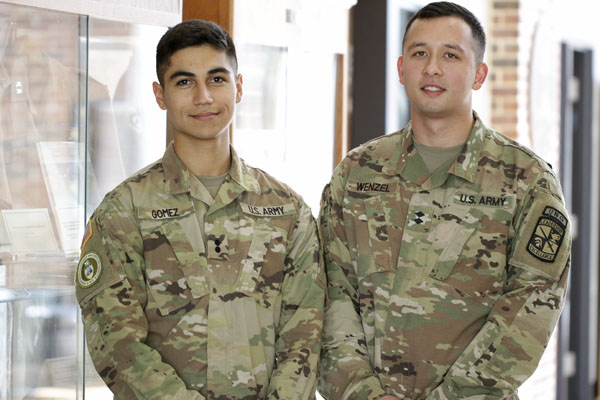 Cadet 1st Lt. Andrew Gomez of Cumming, Georgia, left, is ranked second in the nation and Cadet Lt. Col. Bryton Wenzel of Albany, Georgia, right, is ranked fifth out of 5,536 ROTC cadets.