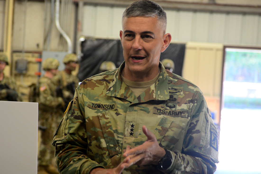 Lt. Gen. Stephen J. Townsend, commanding general for the XVIII Airborne Corps, Fort Bragg, North Carolina, visits soldiers from the 1st Security Force Assistance Brigade at Fort Benning, Georgia.