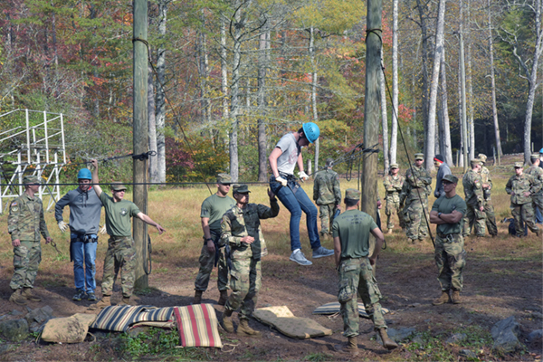 The semiannual National Leadership Challenge gives high school students a chance to learn about UNG and the Corps of Cadets while experiencing a weekend of team-building and problem solving activities, including rappelling, rope courses and obstacle courses.