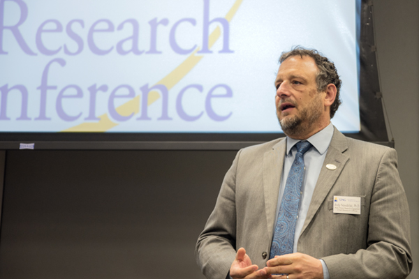 Dr. Andy Novobilski, associate provost for research and engagement, addresses participants in the 2017 Annual Research Conference held on the Dahlonega Campus.