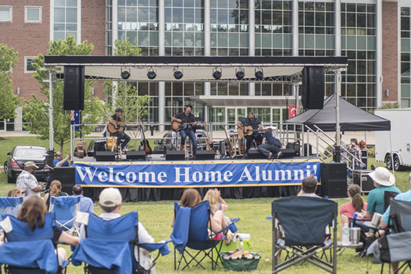 Alumni and their families enjoy a free concert during the 2017 Alumni Weekend, held each year on the Dahlonega Campus.