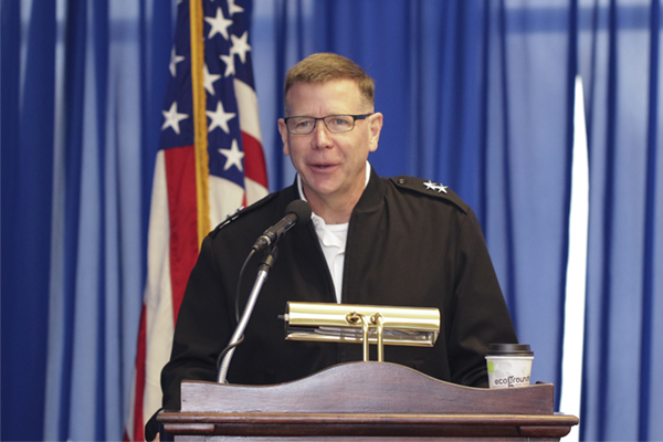 "Maj. Gen. Stephen G. Fogarty served as keynote speaker at UNG's second annual Security Symposium, ""Civil-Military Cooperation and the International Collaboration in Cyber Operations,"" held Nov. 8-9 on UNG's Dahlonega Campus."