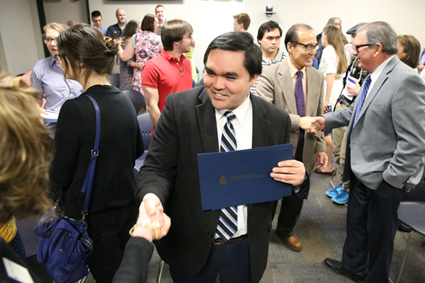 Steven Myung, a 25-year-old sophomore from Athens, Georgia, was the recipient of both the Clark Theodore Outstanding Non-Traditional Student Award and the Business Administration Excellence Award on the Oconee Campus.