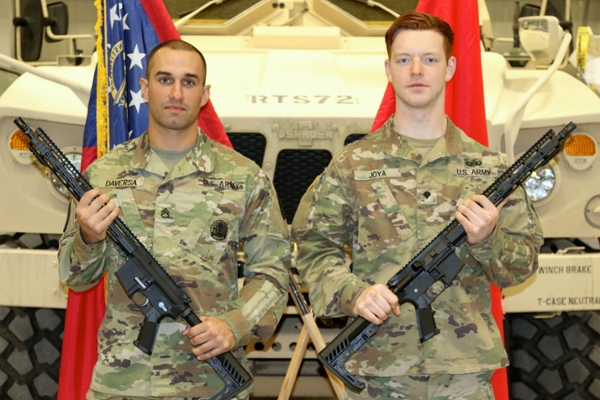 Spc. Alexei Joya, right, a member of the Georgia National Guard who also is in the UNG Corps of Cadets, won the Georgia Army National Guard Best Warrior Competition in March.