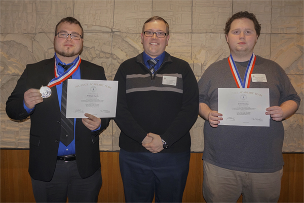 University of North Georgia (UNG) juniors William Harris, left, and John Blessing, right, were named to the Phi Theta Kappa All-Georgia Academic Team. They are pictured with Vincent Prior, adviser of Phi Theta Kappa at UNG.