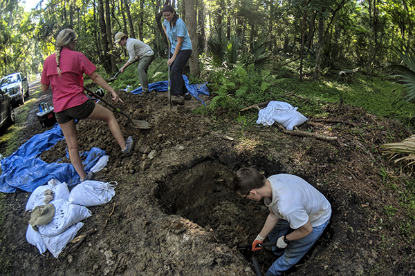 University of North Georgia students, from left, Laurie Harris, Michael Magoon, Madison Ussery, and Charles Bish in foreground assist with the paleontology excavation at the Federal Law Enforcement Training Center in Brunswick, Georgia. Funded through a UNG Presidential Incentive Award, the trip in late May and early June yielded only a few marine fossils such as stingray teeth and small bone fragments. (Photo courtesy of Brandon Spragins of FLETC)