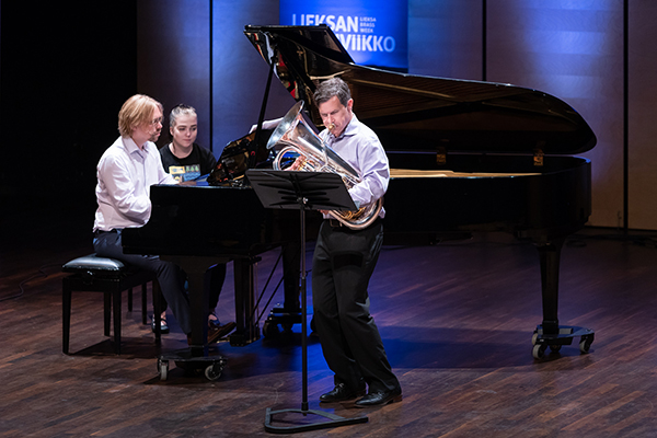 Adam Frey, assistant professor of music at the University of North Georgia, performs at the Brass Virtuoso Recital in Finland. Frey was one of the judges at the Lieksan Vaskiviikon International Euphonium Competition there in July.