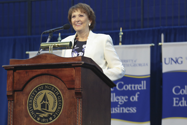 UNG President Bonita Jacobs addresses members of the university's faculty and staff during the annual Faculty and Staff Convocation, an event held each fall to kick off the academic year.