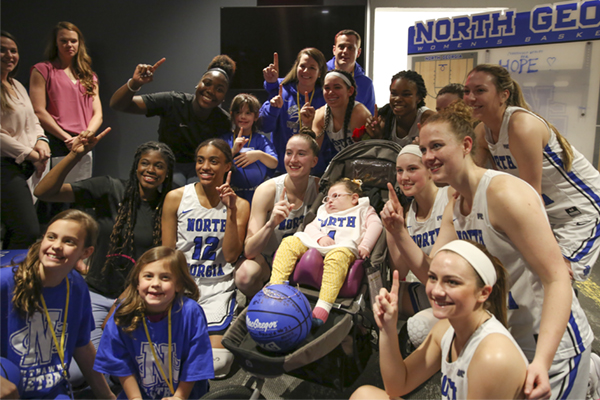 Five-year-old Hope Nix from Dahlonega, Georgia, and her family were surprised with a trip to Disney World in Orlando, Florida. The surprise gift was organized as part of a Make-A-Wish reveal coordinated with UNG Athletics. UNG earned the privilege to host the surprise for Hope and her family after raising more than $10,000 this year to help grant at least one wish.
