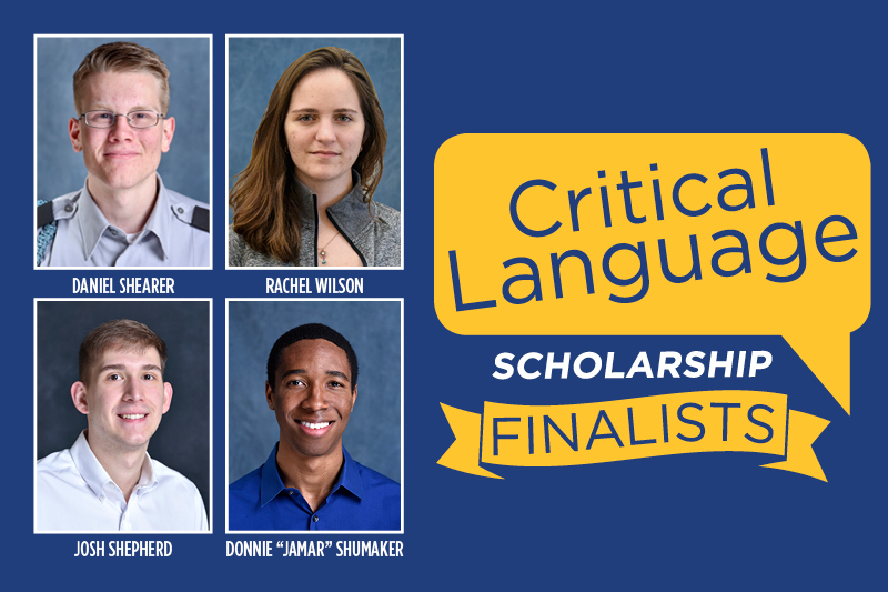 "Daniel Shearer, Josh Shepherd, Donnie ""Jamar"" Shumaker, and Rachel Wilson have been selected as Critical Language Scholarship finalists. The scholarship program is a fully-funded overseas language and cultural immersion program for American undergraduate and graduate students."
