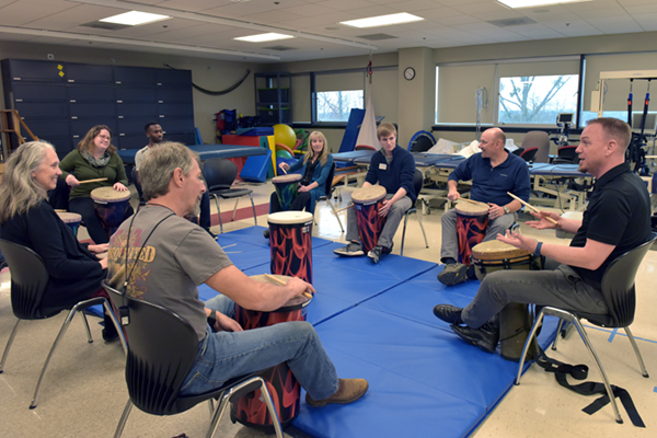 Departments collaborate to research effects of drumming on chronic pain