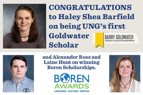 UNG has first Goldwater Scholar and two students earn Boren scholarships
