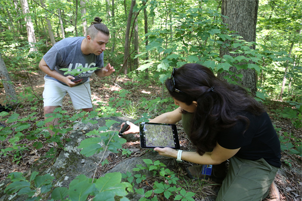 Faculty, student, alumna study rock outcrops at Elachee