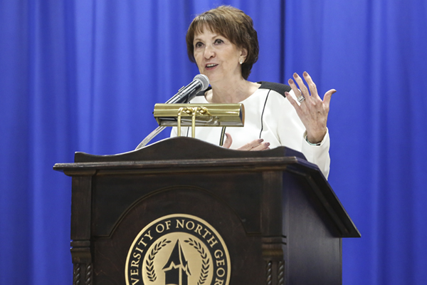 University of North Georgia (UNG) President Bonita Jacobs focused on significant steps the school has taken and will take during her State of the University speech during the Faculty and Staff Convocation.