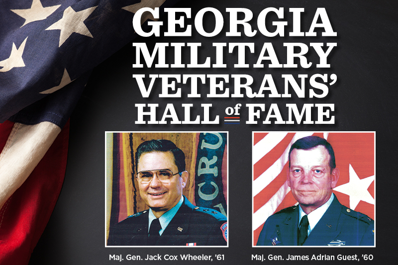 Maj. Gen. James Adrian Guest and Maj. Gen. Jack Cox Wheeler were inducted into the Georgia Military Veterans' Hall of Fame on Nov. 2 and presented with the medallion, certificate and coin.
