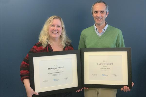 Two faculty selected as 2018 McBrayer Award recipients