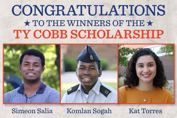 Three students win Ty Cobb Scholarships