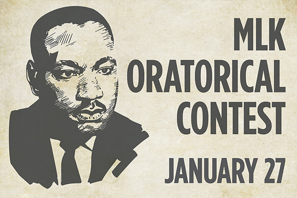 The Martin Luther King Jr. Oratorical Contest will provide five students an opportunity to discuss what they believe King would view as today's most pressing social justice issue.