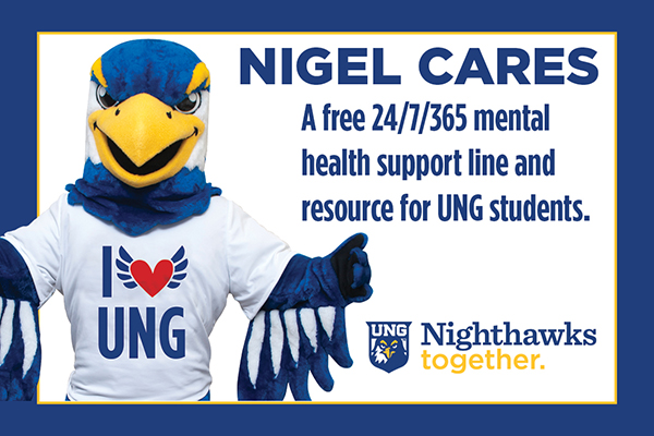 Nigel Cares provides a free 24/7/365 mental health support line and resource for UNG students.
