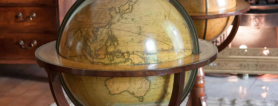 Old globes in a study.