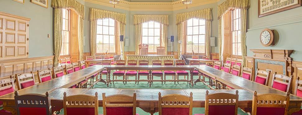 Empty legislative room