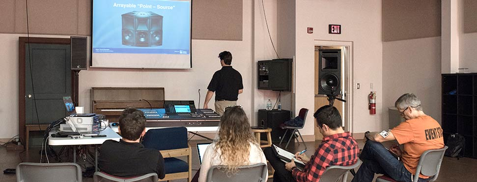 students in class about professional audio stage equipment
